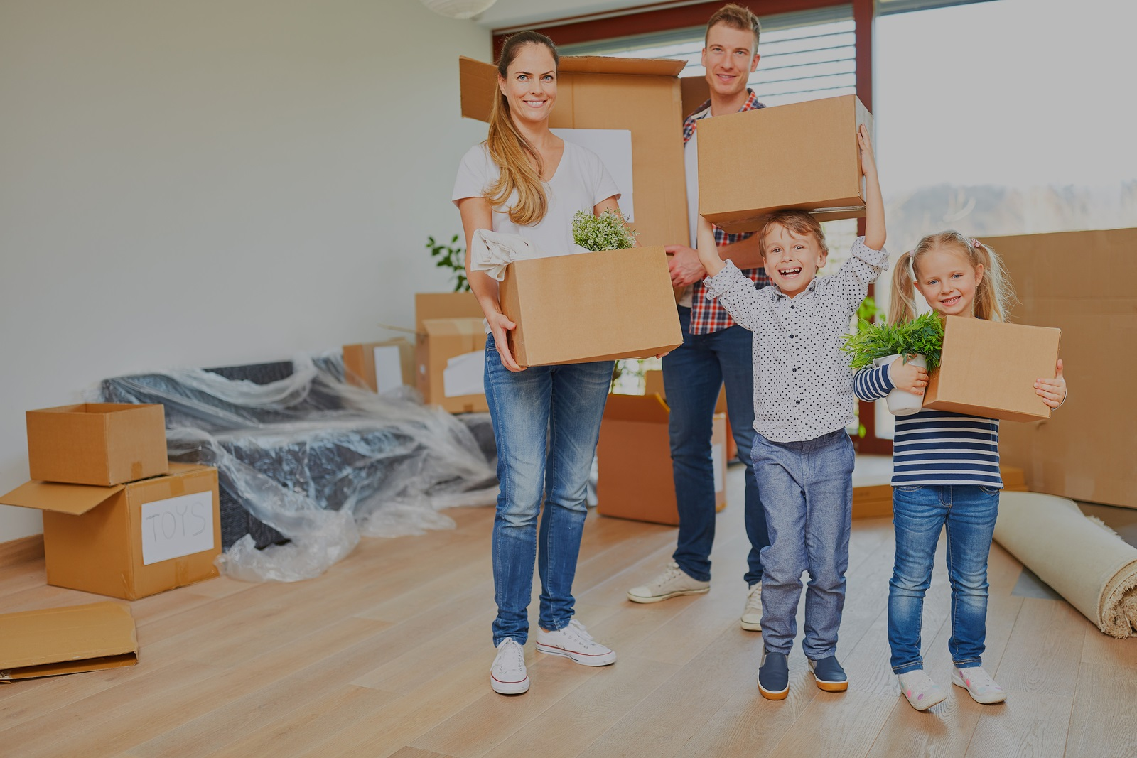 Parents and children moving
